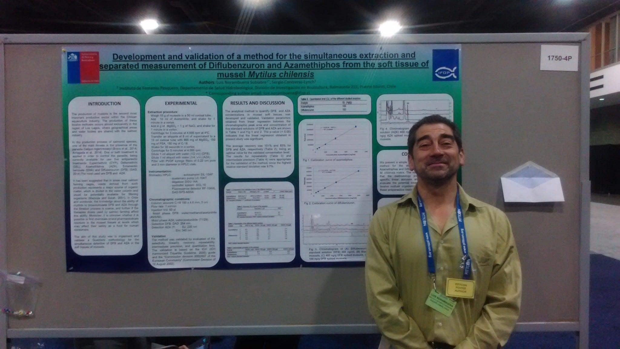 Luis Norambuena  investigador de IFOP presenta trabajo en  Congreso Pittcon, en Atlanta Estados Unidos