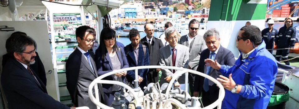 Delegation of Japan visits scientific ship Abate Molina in Valparaíso