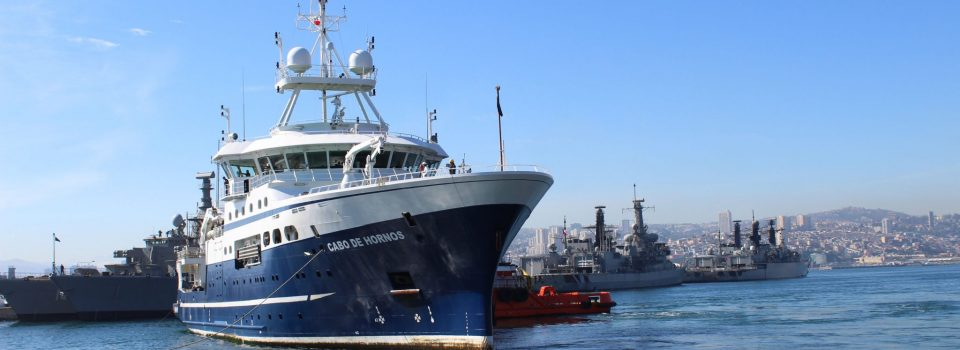 "Scientific ship ""Cabo de Hornos"" arrived after a study of the ""southern hake"""
