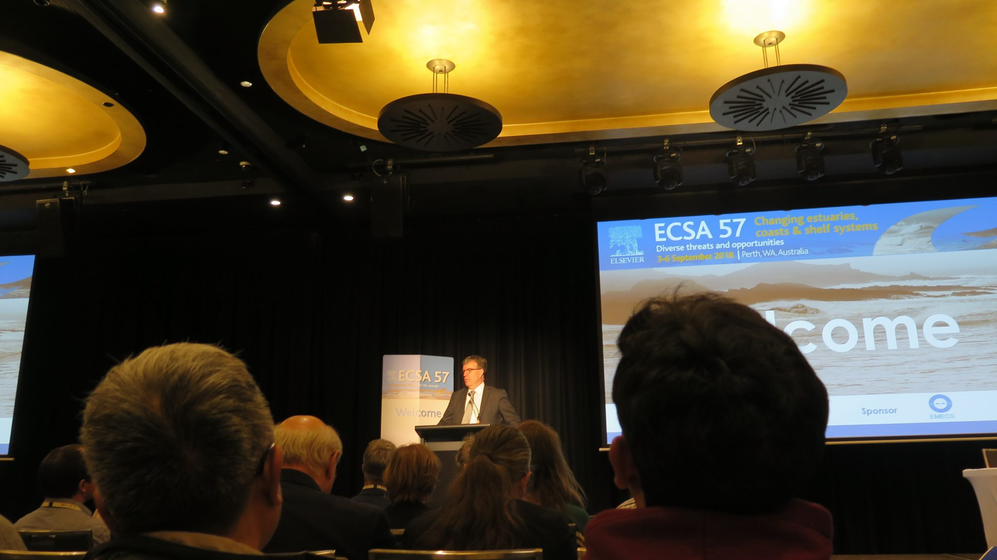 Dr. Luis Henríquez  presented his work on  Australia coastal estuaries changes at an international conference