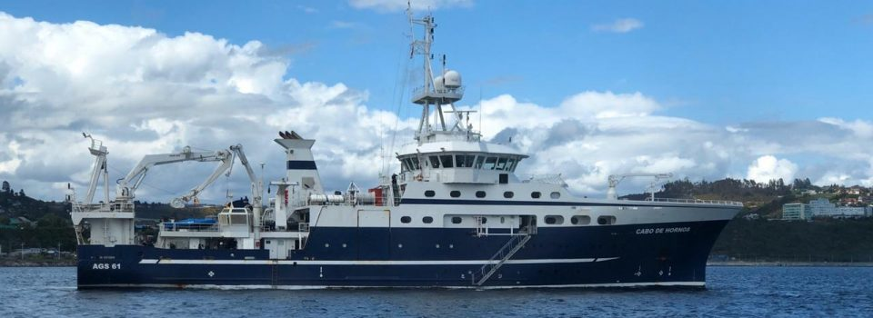 IFOP Cabo de Hornos vessel  conducts a research cruise on southern tail and three-finned hake